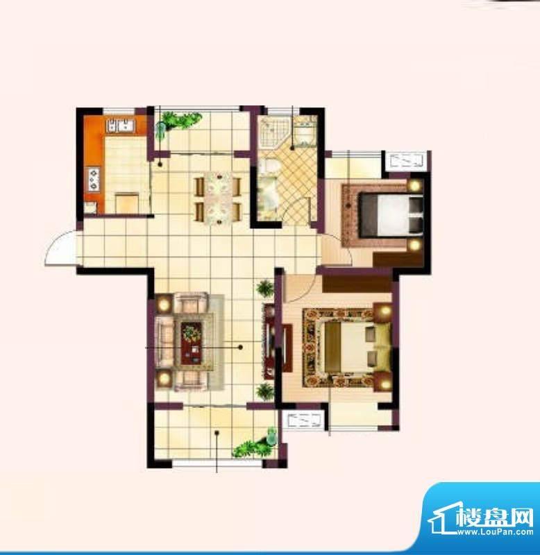 美的翰城A2户型 两室面积:84.00平米