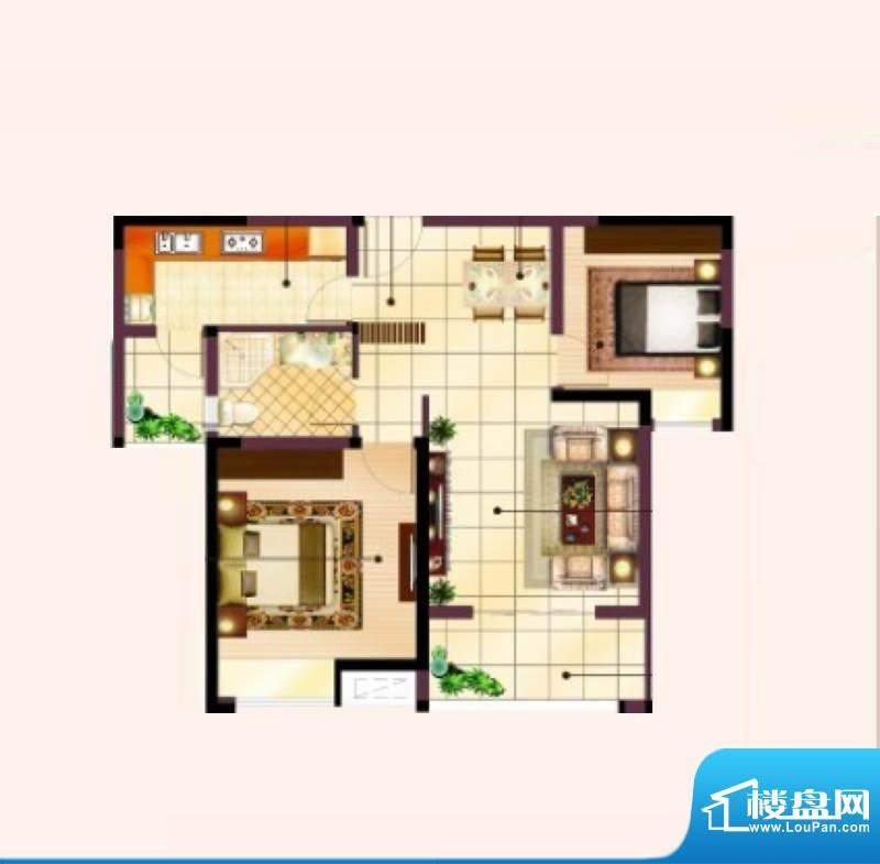美的翰城C3户型 两室面积:84.00平米