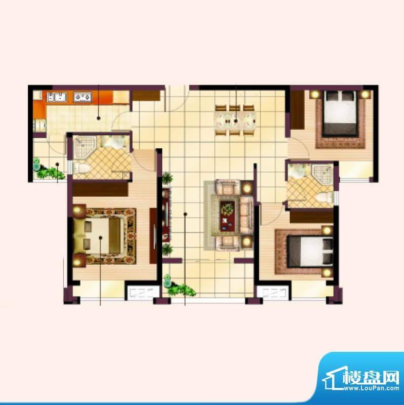 美的翰城D3户型三室面积:115.00平米