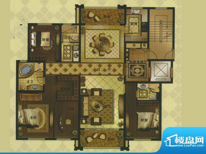 名门壹品B户型 4室3面积:194.80平米