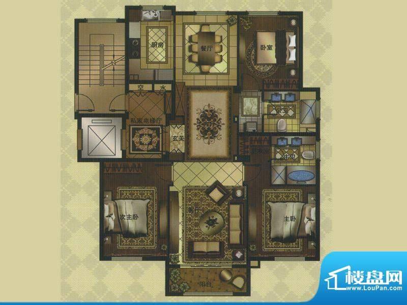 名门壹品G户型 3室3面积:162.00平米