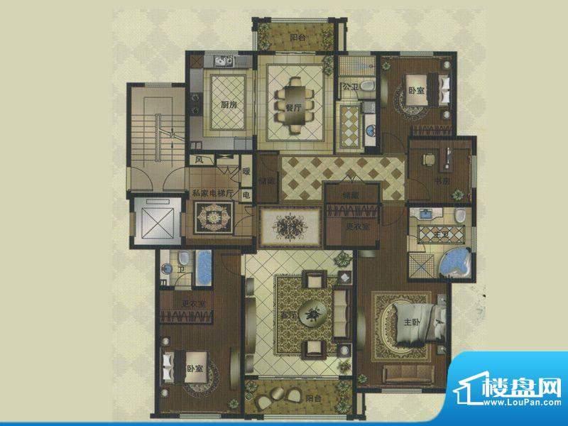 名门壹品A户型 4室3面积:220.41平米