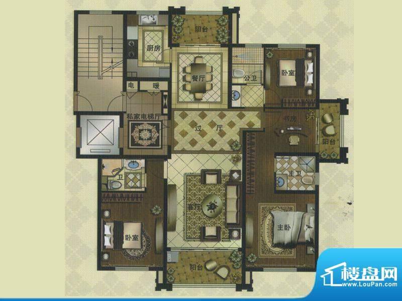 名门壹品C户型 4室3面积:159.00平米