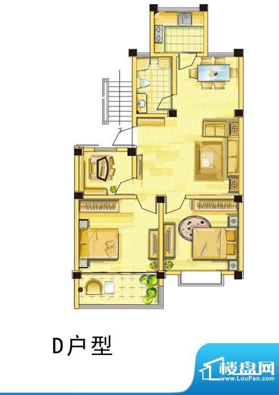 汇景国际D户型 3室2面积:94.00平米