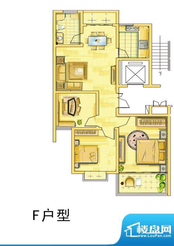 汇景国际F户型 3室2面积:106.00平米