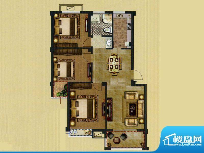 鑫桥康郡B户型 3室2面积:105.00平米