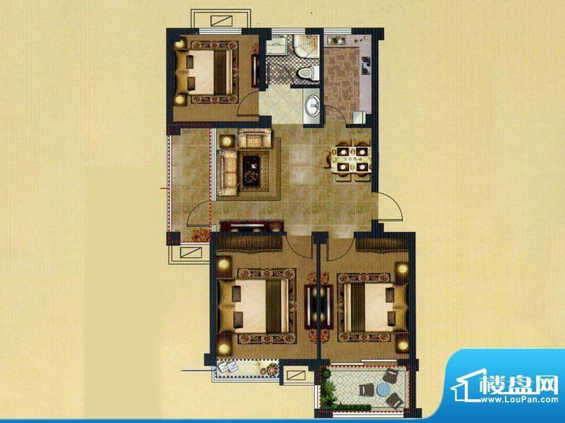 鑫桥康郡A户型 3室2面积:93.00平米