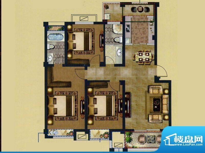 鑫桥康郡C户型 3室2面积:122.00平米