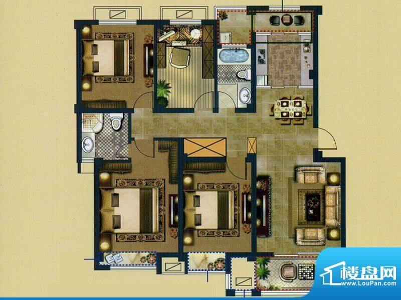 鑫桥康郡D户型 4室2面积:138.00平米