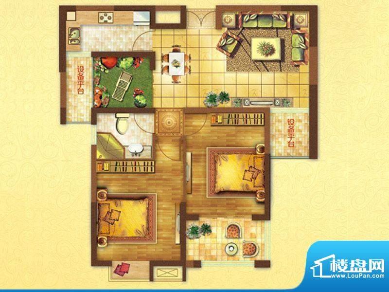 时代国际A户型 2室2面积:96.00平米