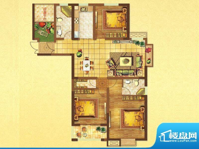 时代国际C户型 3室2面积:138.00平米