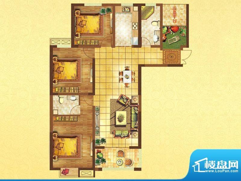 时代国际D户型 3室2面积:139.00平米