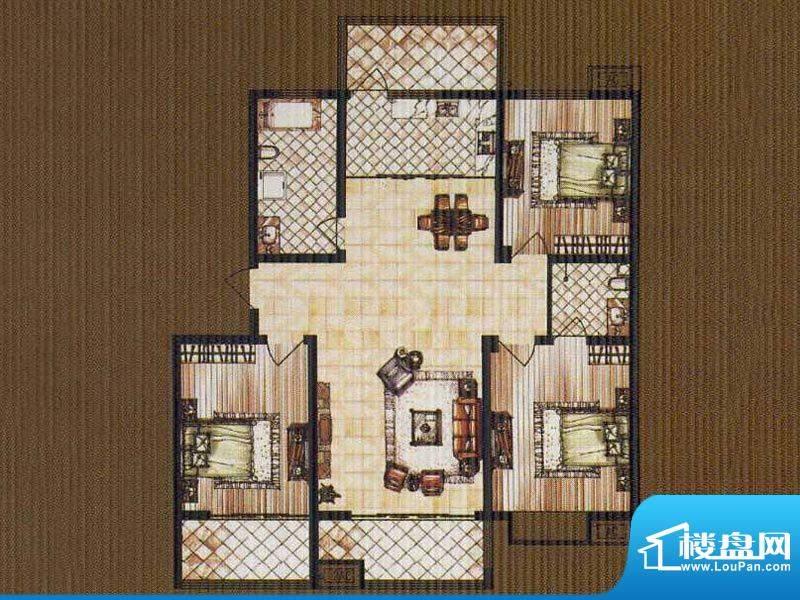 锦都豪庭GC户型 3室面积:135.00平米