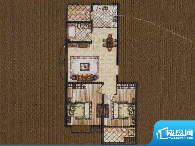 锦都豪庭GA户型 2室面积:85.00平米