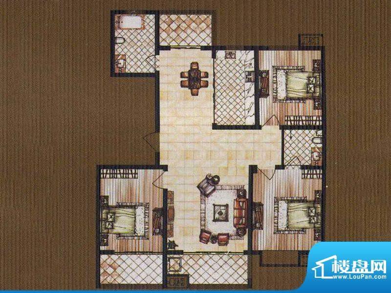 锦都豪庭GB户型 3室面积:135.00平米