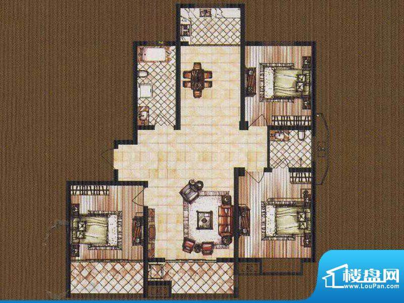 锦都豪庭GD户型 3室面积:135.00平米