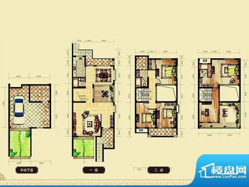 锦都豪庭A联排户型 面积:240.00平米