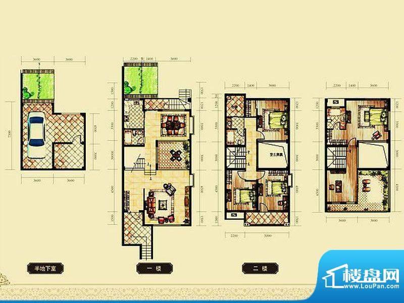 锦都豪庭B联排户型 面积:230.00平米