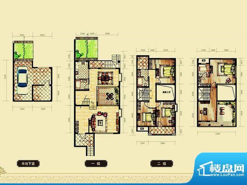 锦都豪庭C联排户型 面积:210.00平米