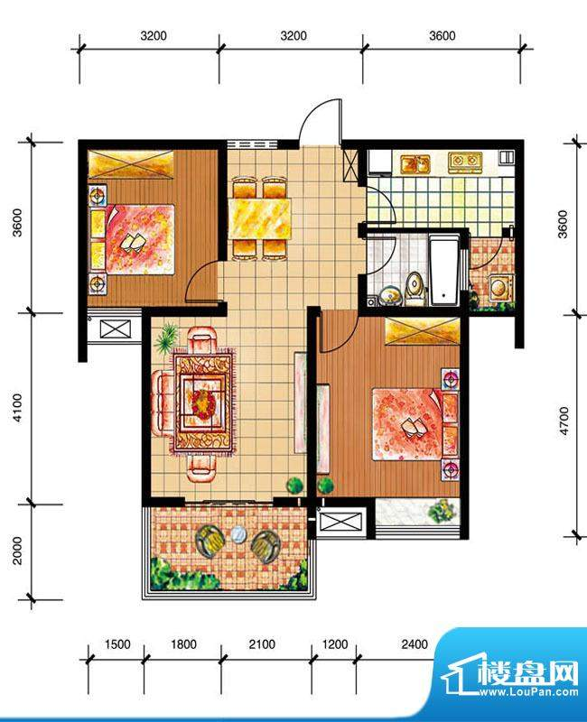 尚仕名邸H户型 2室2面积:91.00平米