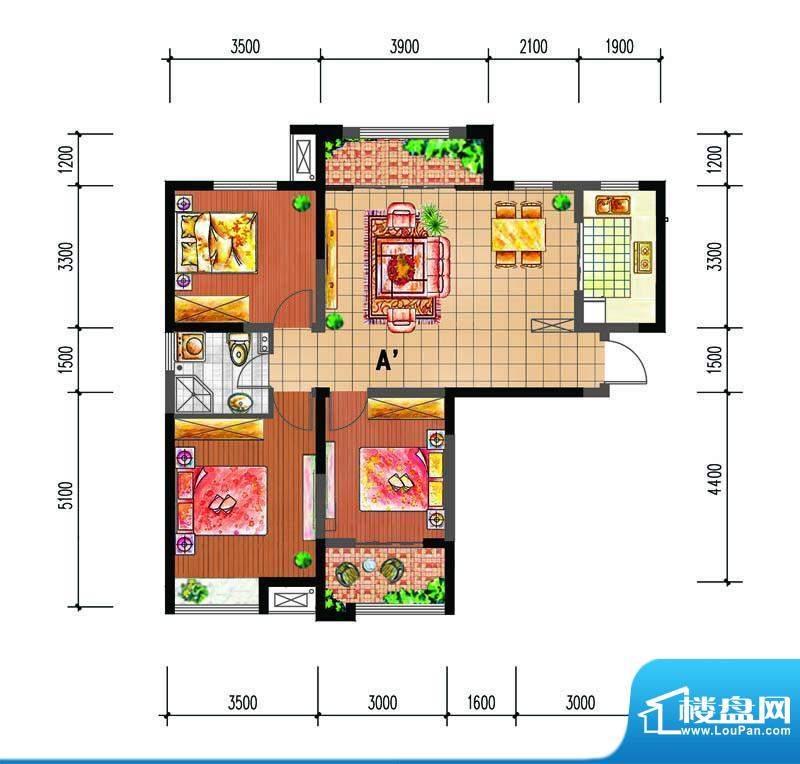 尚仕名邸A'户型 3室面积:109.00平米