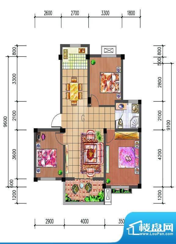 尚仕名邸G户型 3室2面积:97.00平米