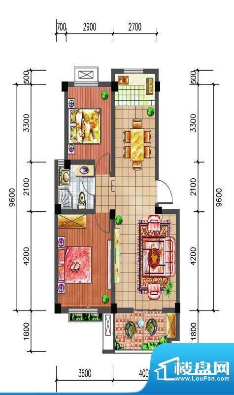 尚仕名邸E户型 2室2面积:81.00平米