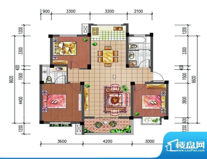 尚仕名邸D户型 3室2面积:115.00平米