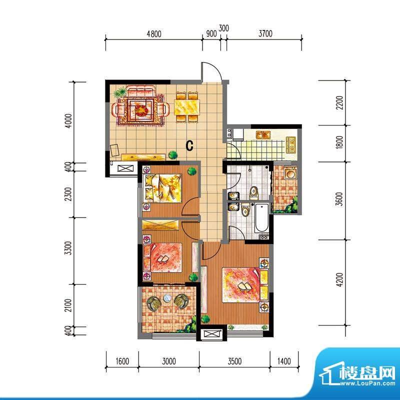 尚仕名邸C户型 3室2面积:106.00平米