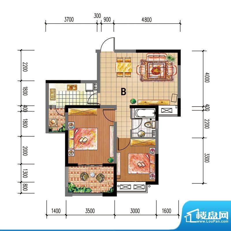 尚仕名邸B户型 2室2面积:86.00平米