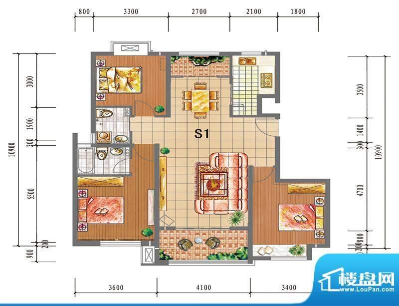 尚仕名邸S1--单层户面积:123.00平米