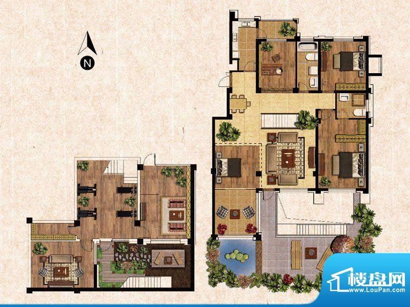 蓝爵庄园A户型 3室2面积:157.00平米