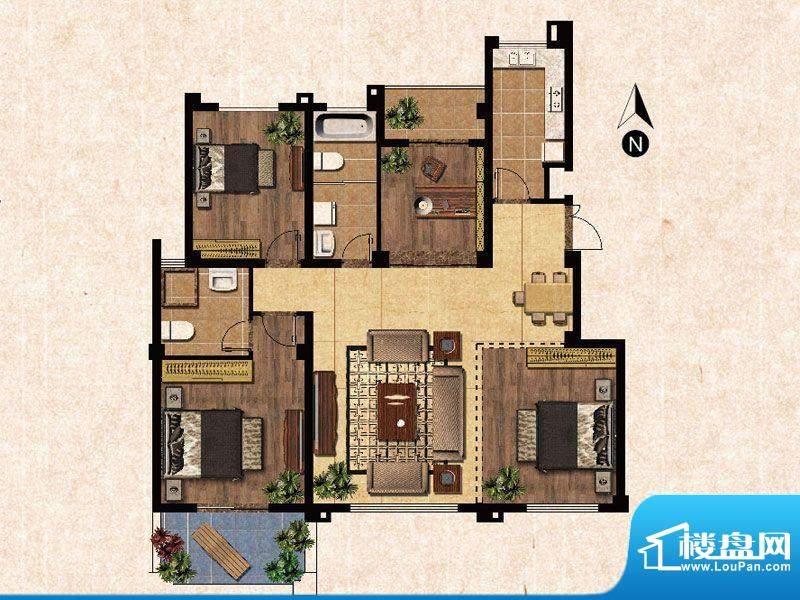 蓝爵庄园E户型 3室2面积:124.00平米