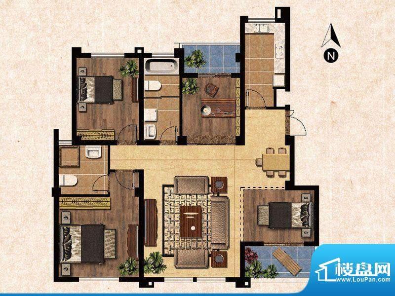 蓝爵庄园F户型 3室2面积:117.00平米