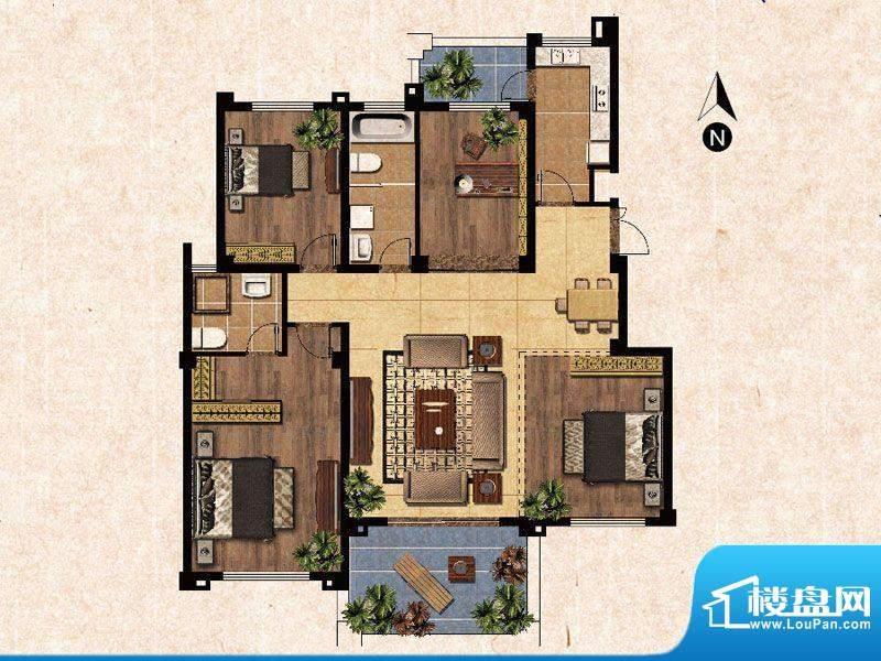 蓝爵庄园D户型 3室2面积:130.00平米
