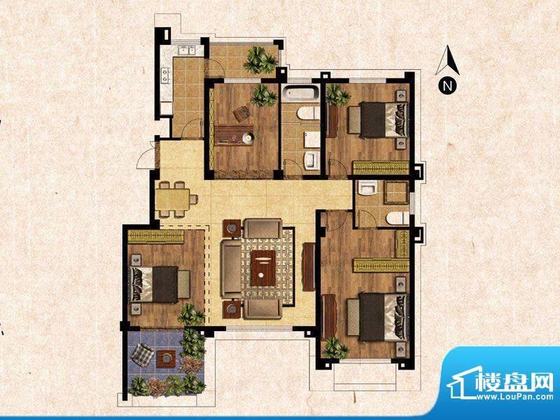 蓝爵庄园C户型 3室2面积:135.00平米