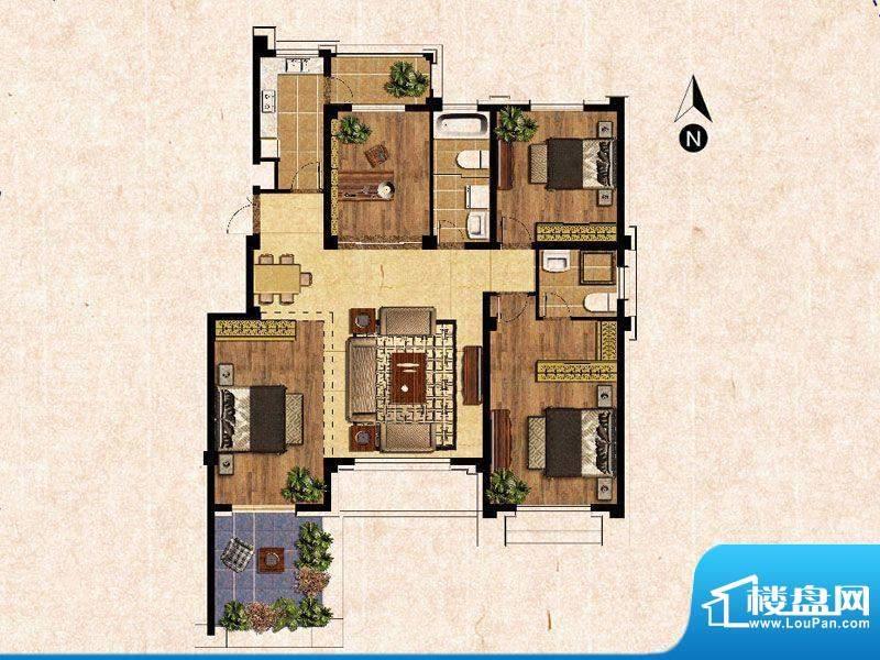 蓝爵庄园B户型 3室2面积:141.00平米