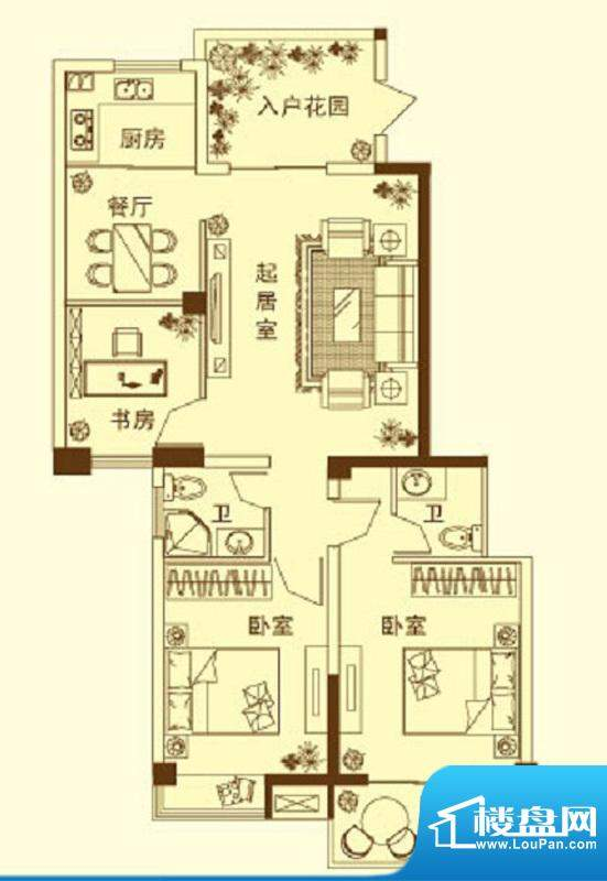 玉融瀚景园B户型 3室面积:113.68平米