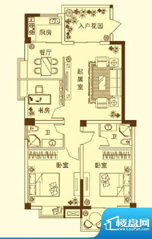 玉融瀚景园C户型 3室面积:117.80平米