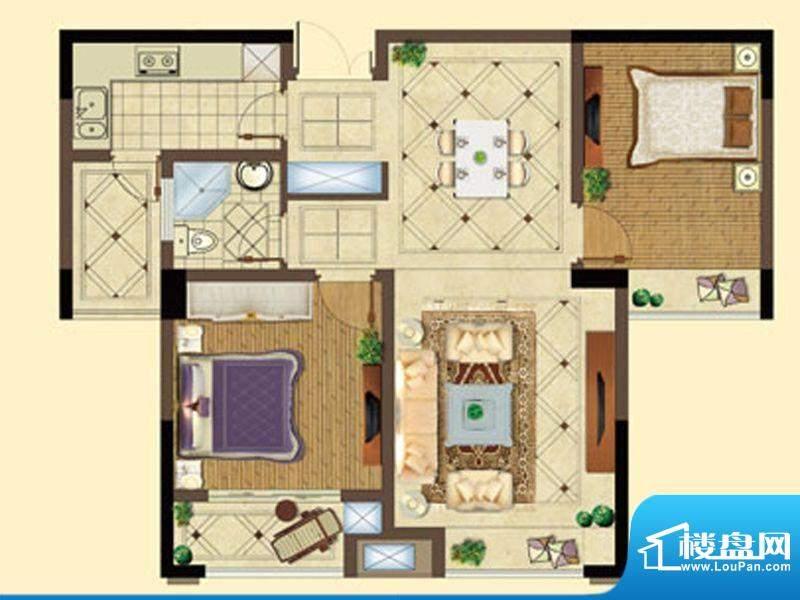 五洲国际A户型 2室2面积:90.00平米