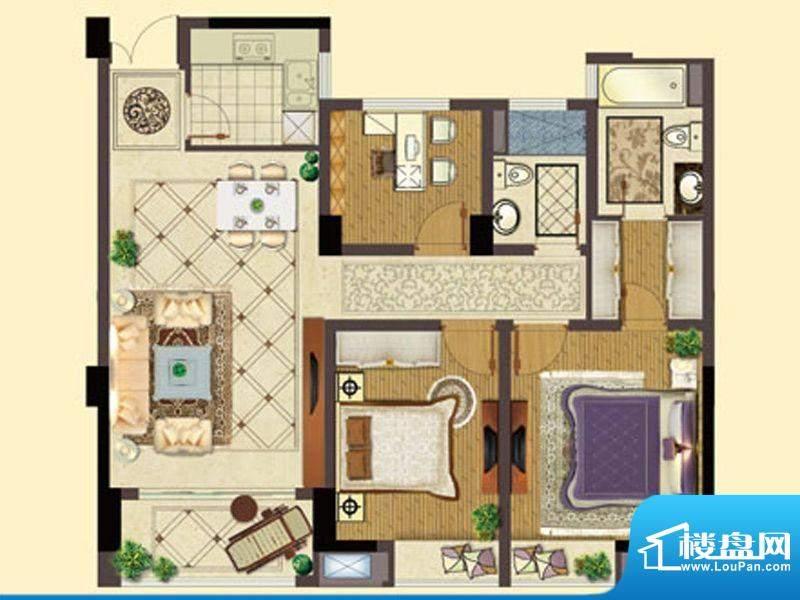 五洲国际B户型 3室2面积:107.00平米