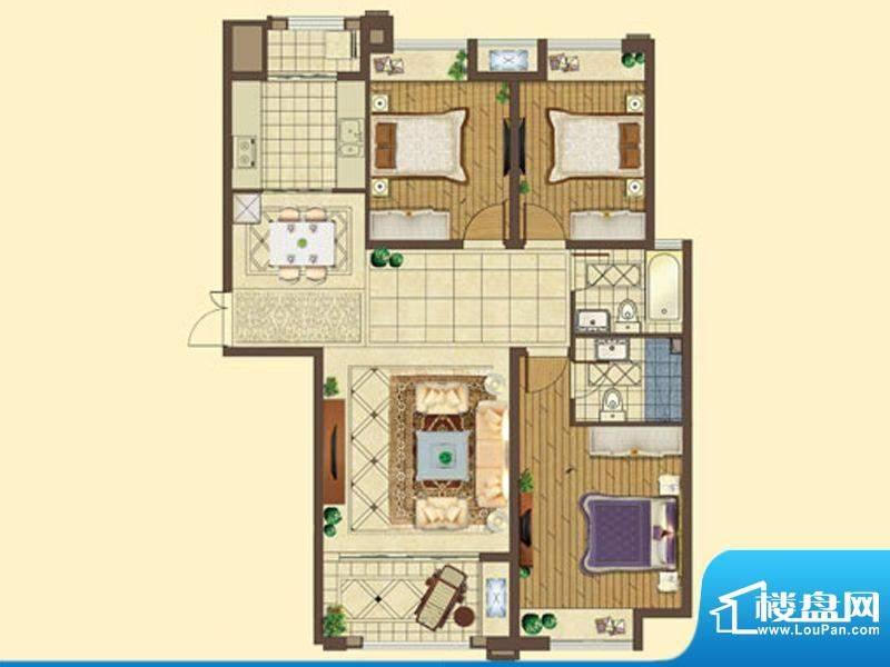 五洲国际C户型 3室2面积:129.00平米