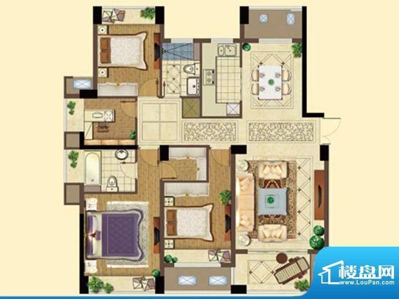 五洲国际D户型 4室2面积:139.00平米