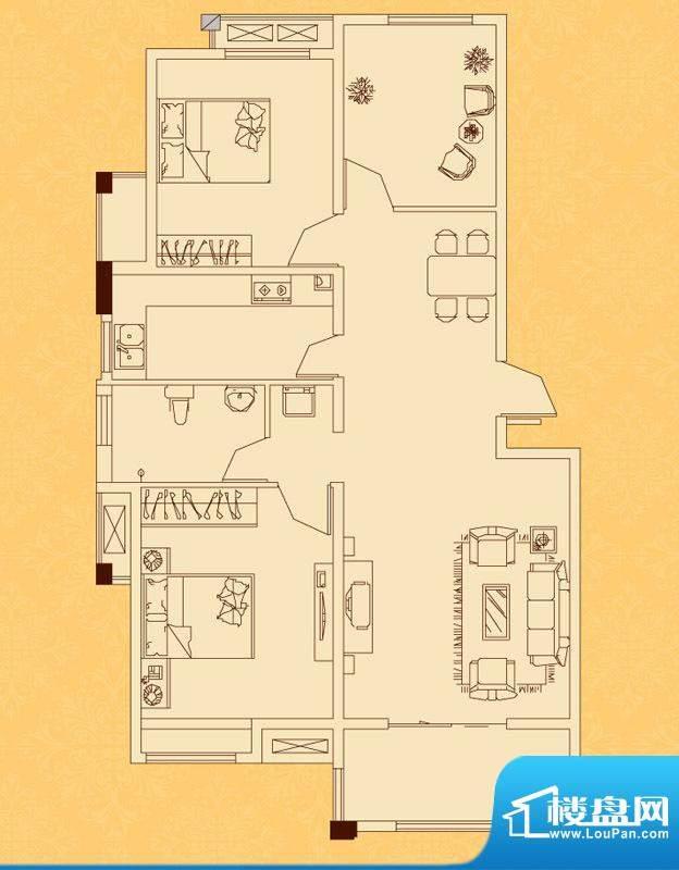 怡景新城A/B户型 2室面积:95.00平米