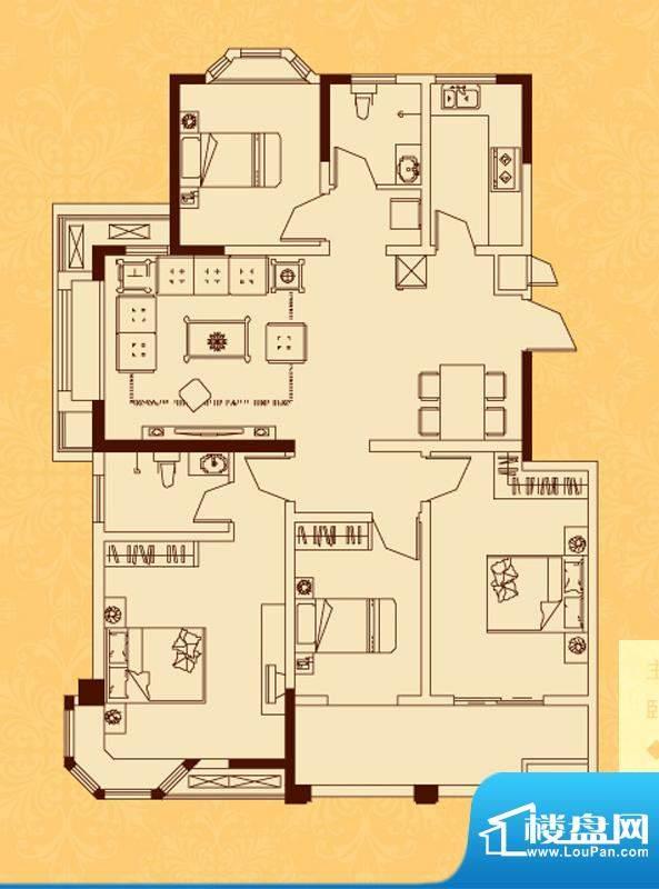 怡景新城G户型 4室2面积:132.08平米