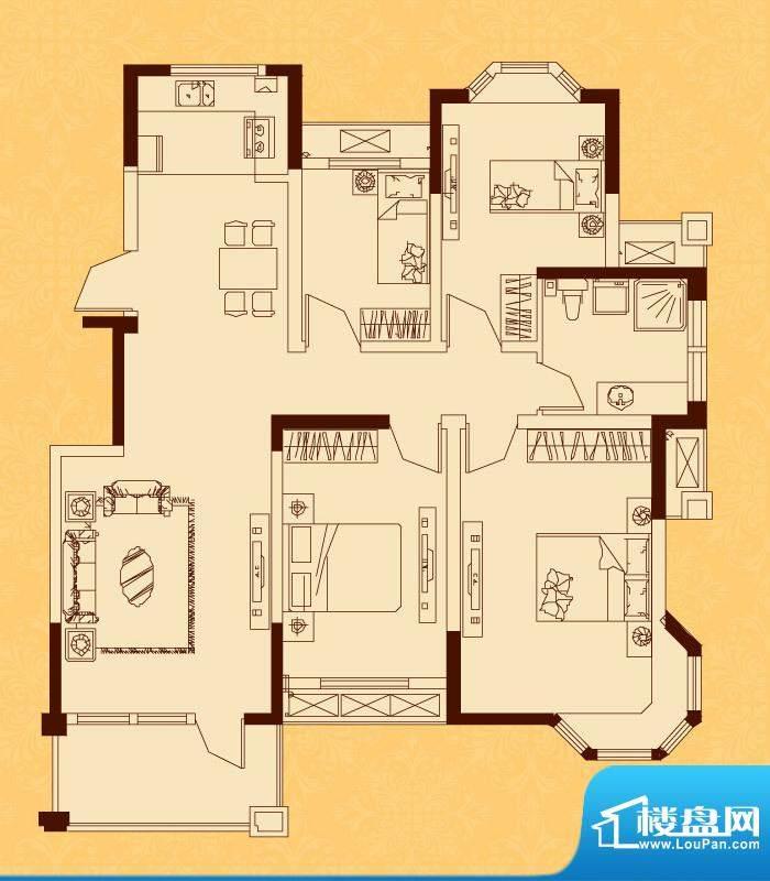 怡景新城H/J户型 4室面积:112.09平米