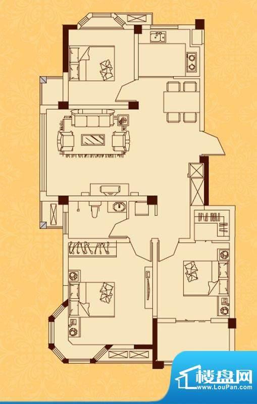 怡景新城K户型 3室2面积:104.00平米