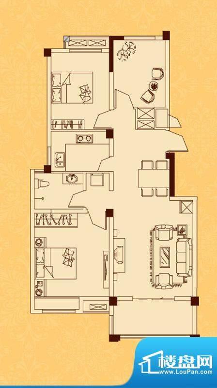 怡景新城L户型 2室2面积:92.28平米