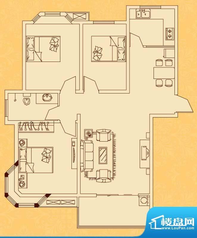 怡景新城M户型 3室2面积:113.10平米