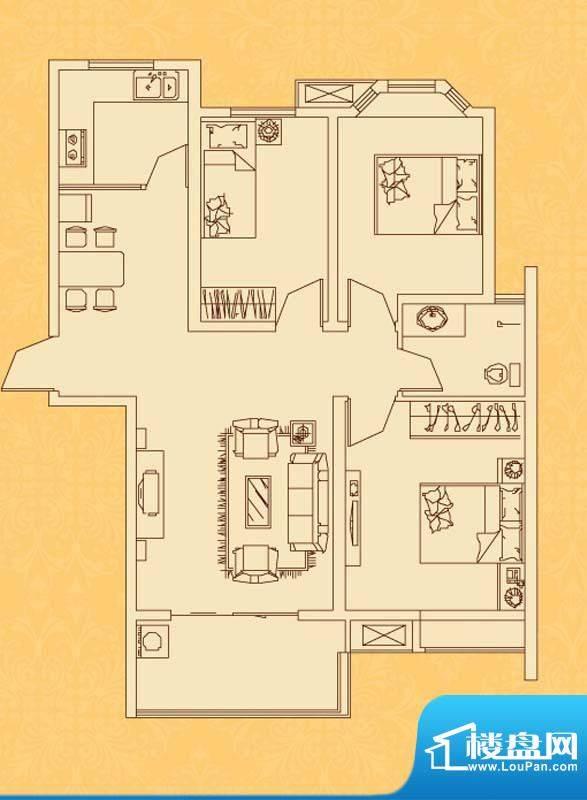 怡景新城N户型 3室2面积:102.30平米